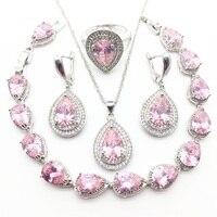 Pink Australia Crystal Water Drop Silver 925 Jewelry Sets For Women Bracelet Earrings Necklace Pendant Rings