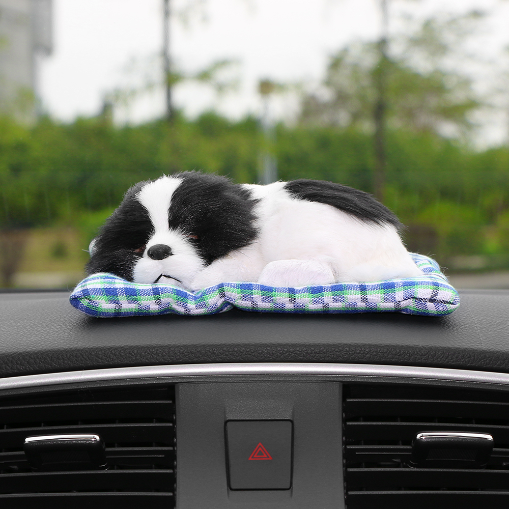Car Ornament Lovely Plush Dog Automotive Interior Decoration Sleeping Puppy Toy Ornaments Cute Automobile Dashboard Accessories car pendant cute helmet rearview mirror hanging for game of thrones cartoon automobile interior decoration ornament accessories