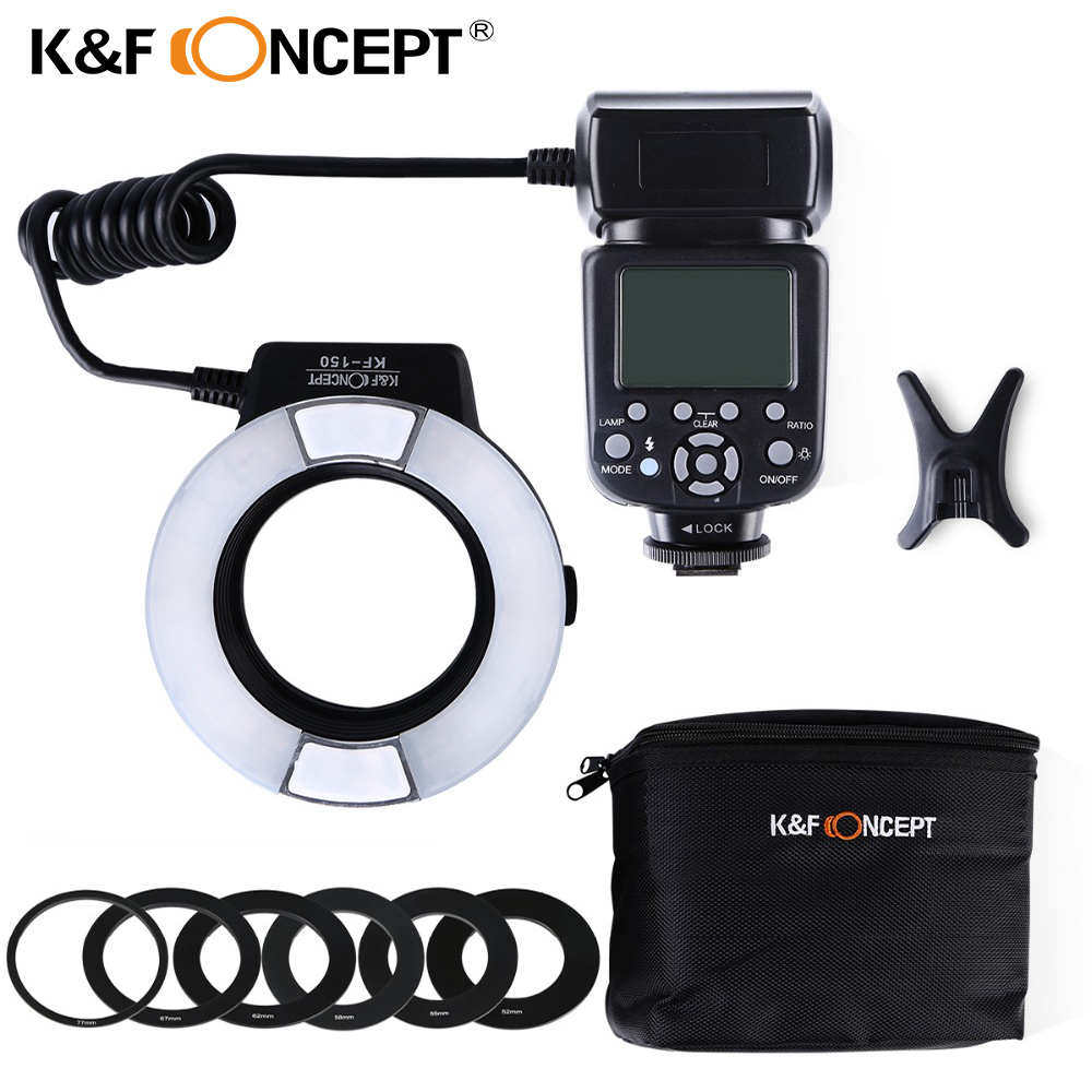 K&F CONCEPT KF150 Wireless Ring Light Speedlite LCD Display TTL Auto/Manual Flash for Nikon Canon DSLR Camera+6pcs Adapter Ring лазерное мфу brother dcp l2560dwr