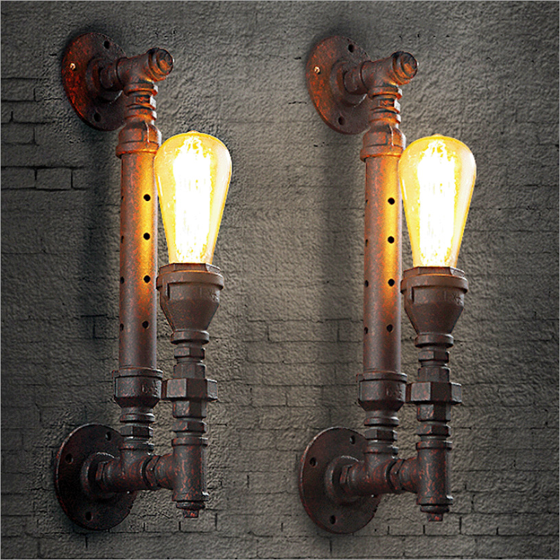 American loft Steam pipe water pipe E27 creative wall lamp for stairs dining room bar art decor lighting fixtures A144American loft Steam pipe water pipe E27 creative wall lamp for stairs dining room bar art decor lighting fixtures A144