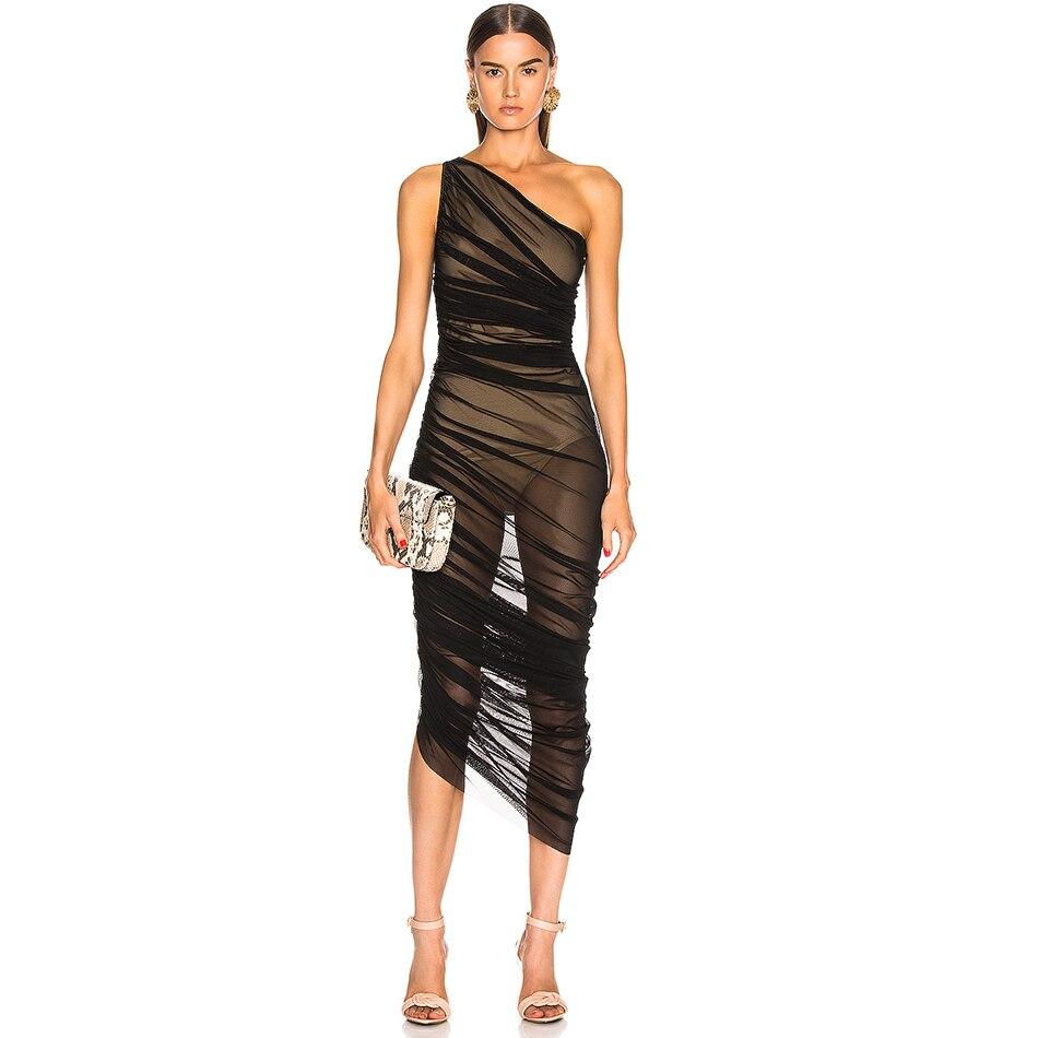 Vestidos 新しい夏の女性ワンショルダーセレブイブニングパーティードレスセクシーなノースリーブレースボディコンナイトクラブドレス IOW 2019