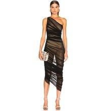 Vestidos 2019 新しい夏の女性ワンショルダーセレブイブニングパーティードレスセクシーなノースリーブレースボディコンナイトクラブドレス ADYCE
