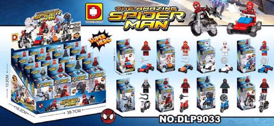 DLP9033 Marvel Spider Man Spider-man Spiderman With Car Motorcycle Bike Minifigures Super Heroes Bricks Kids Toys Mini Figures