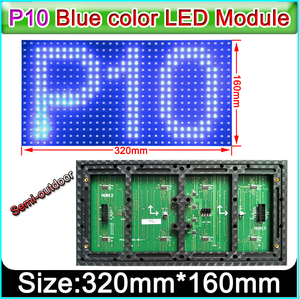 320 X 160mm Semi-outdoor Blue Color P10 LED Display Panel,Single Color Indoor SMD P10 LED Display Module