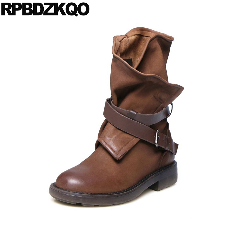 Biker Motorcycle 9 Shoes Belts Luxury Vintage Fall Round Toe Retro Genuine Leather Pink Mid Calf Brand Women Winter Boots Flat new arrival superstar genuine leather chelsea boots women round toe solid thick heel runway model nude zipper mid calf boots l63