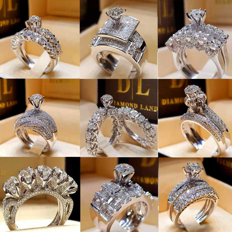 Schattige Vrouwelijke Kristal Witte Ronde Ring Set Merk Luxe Beloven 925 Zilveren Engagement Ring Vintage Bruids Trouwringen Voor Vrouwen