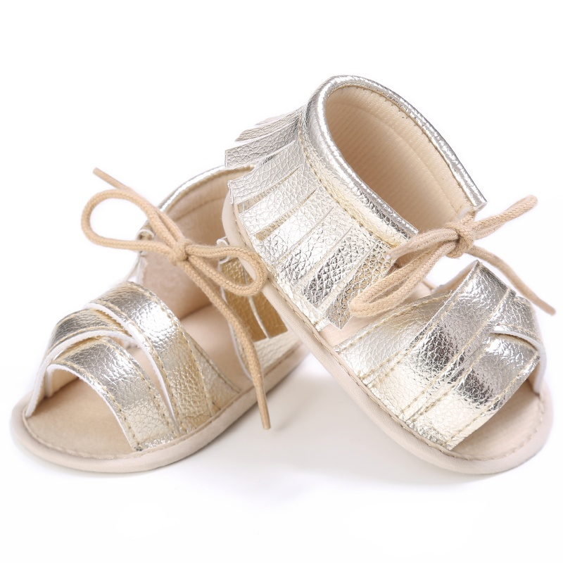 2018 Baru Tiba Balita Perempuan Lembut Sole PU Kulit Bayi Pertama Pejalan Kaki Sepatu Fashion Putri Pinggiran Musim Panas Sepatu Bayi M2