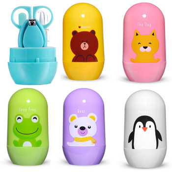 4pcs Baby Healthcare Kits Baby Nail Care Set Infant Finger Trimmer Scissors Nail Clippers Cartoon Animal Storage Box for Travel
