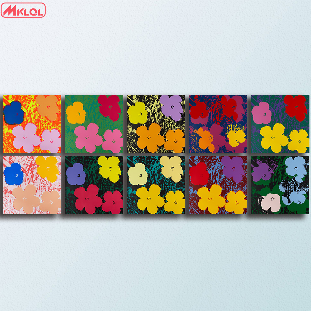 Fiori Warhol.Andy Warhol 10pcs Flowers Wall Art Oil Painting Prints Painting On