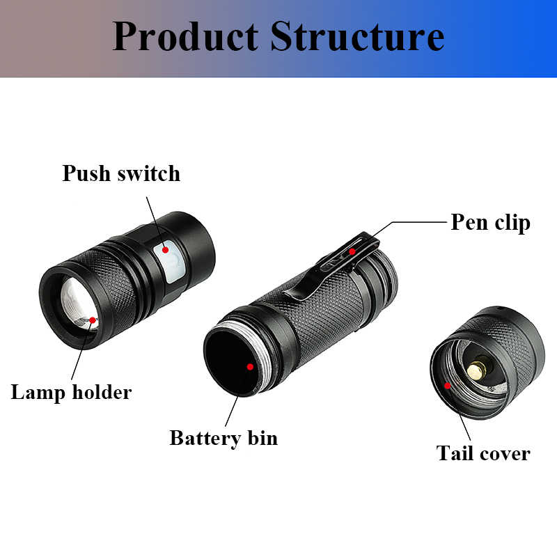 Z30 litwod1301 micro usb recarregável led lanterna XM-LT6 zoomable 5 modos de alumínio lanterna tocha