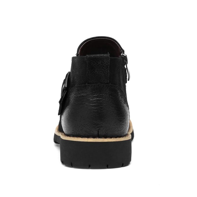Fur Alta Zapatos Vaca black Black Moda Genuino Casuales With Los Retro Botas Cuero De Motocicleta Calidad Fur No Superior Hombres Real Vintage qwnU8XxS