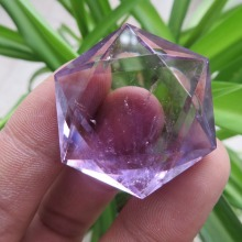 A* 16.8g Natural Amethyst Quartz Crystal Star Of David Carving ART