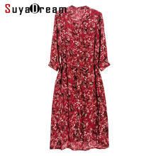 Women Belted Dress 100%REAL SILK Crepe Printed Dresses V neck 3/4 Sleeved Casual Knee Length Dresses for Women 2019 Summer Red