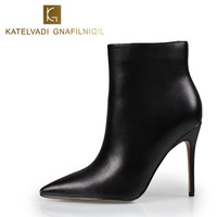 Sexy Women Boots Ankle High Heels Pointed Toe Black Winter Boots With Fur Women Shoes High