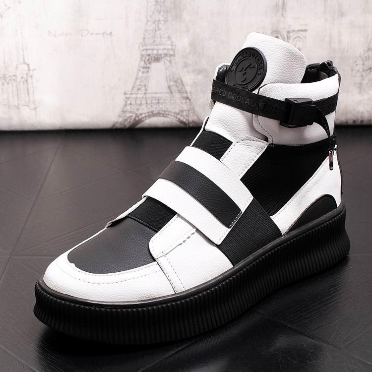 ERRFC Fashion Forward Men Casual Comfort Shoes Hight Top Elastic Band Mixed Colors Man Platform Shoes