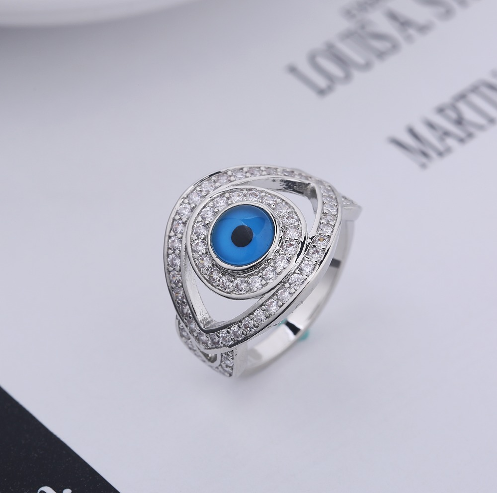 Fashion Jewelry Vintage eye ring Antique Silver Plated Personality White Round blue Opal Ring fashion Jewelry