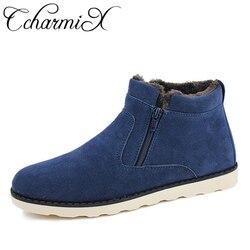 CcharmiX Big Size Men Shoes Top Quality Winter Casual Mens Ankle Boots Warm Cheap Unisex Zipper Boots Leather Snows Boots Male