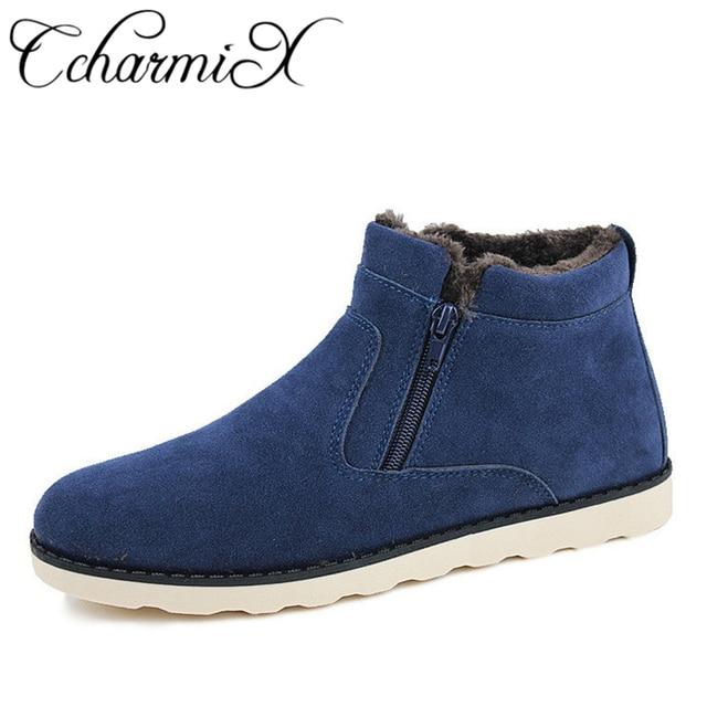 CcharmiX Tamanho Grande Dos Homens Sapatos de Inverno de Alta Qualidade Casuais Mens Ankle Boots Quente Barato Unisex Neva Botas de Couro Botas Com Zíper masculino