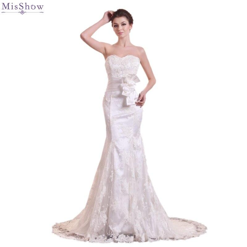 Vintage Lace Gothic Overskirts Wedding Dresses 2018 Plus: MisShow 2018 Vintage Lace Mermaid Wedding Dress Customized