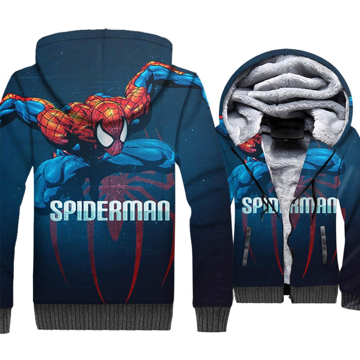 Super Hero Spider Man Jacket Hoodie Men Funny Sweatshirt Winter Thick Fleece Zipper 3D Print Coat Cool Sportswear Brand Clothing