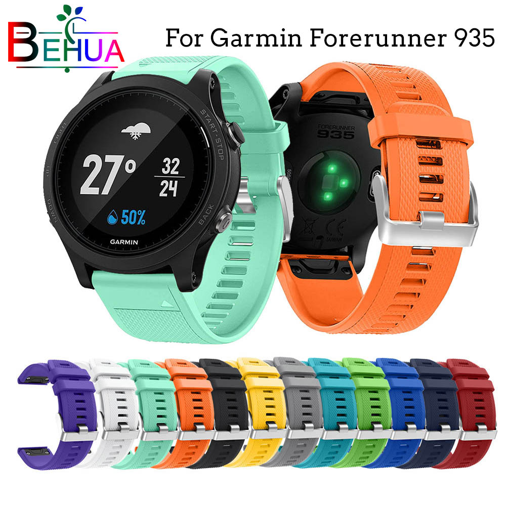 22mm For Garmin Forerunner 935 smart watch Band with quick release silicone easy fit wrist strap For Fenix5 5 plus Replacement in Watchbands from Watches