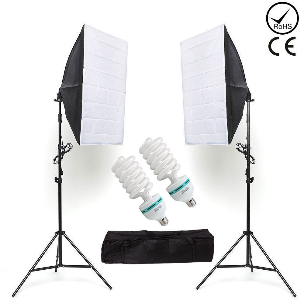ZUOCHEN 2x135W Photo Studio Lighting Kit 20inchx28inch 50x70cm Softbox Soft Box Photo Studio Set Light Bulbs Lamp 5500K