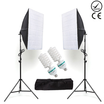 ZUOCHEN 2x135W Photo Studio Lighting Kit 20x28/50x70cm Softbox Soft Box Photo Studio Set Light Bulbs Lamp 5500K