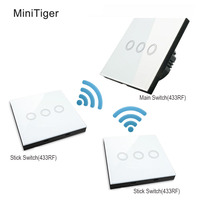MiniTiger EU Standard Luxury Crystal Glass Wall Switch Touch Switch Normal 3 Gang 3 Gang Stick