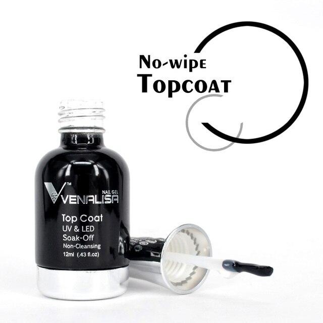 VENALISA No-wipe Top Coat 12ml Nail Art Gel Polish Shiny Glass Bottle Gel Nail Polish UV LED Base Foundation Super Matt Top Coat 3