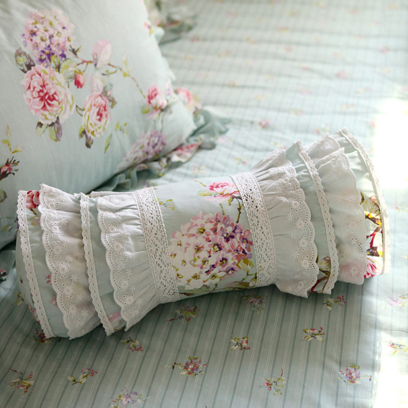 Embroidered flower cushion decorative bedding pillow pastoral candy cushion princess ruffle lace lumbar pillow sofa hand rests
