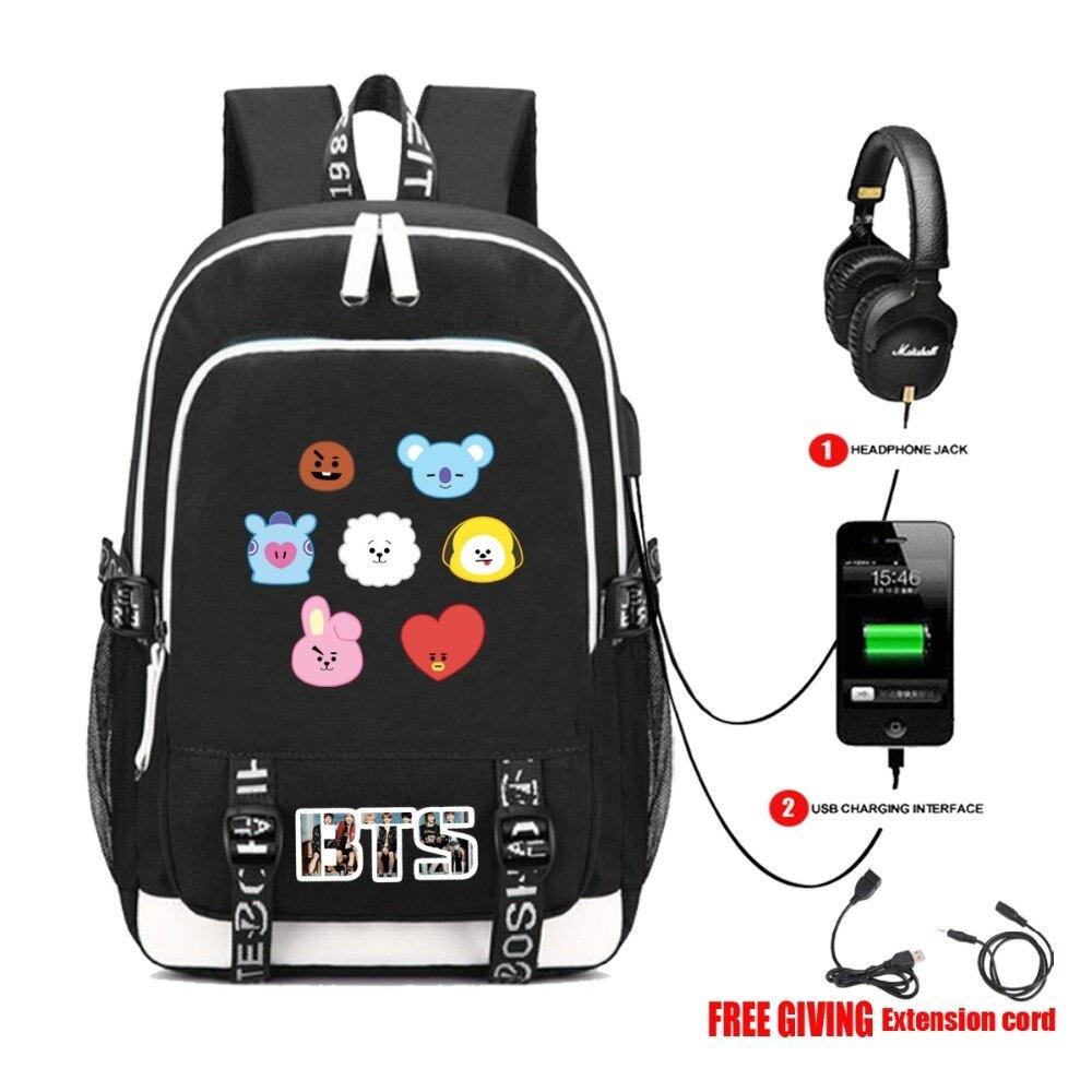 USB Charge Headphone Jack Bag BTS BT21 TATA SHOOKY Laptop Backpack External Headset port Backpack Shoulder School Bags