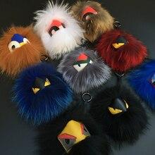 Promo 18 cm Fluffy Real Fox Fur Pom Poms Bug Little Monster Bag Charm Genuine Pompom Keychain Luxury Car Jewelry Pendant  F388
