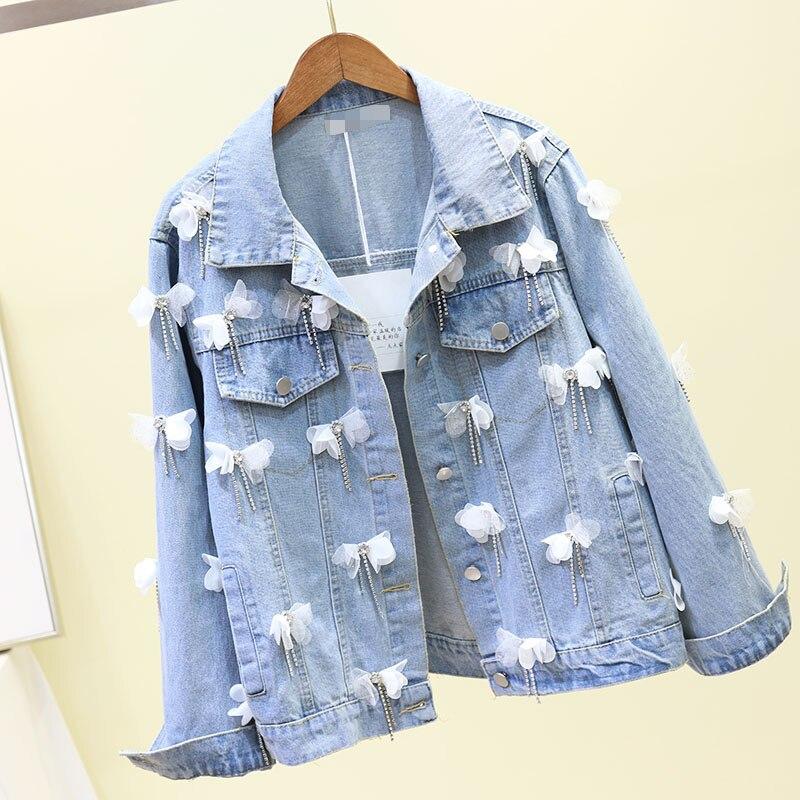 Новая модная повседневная короткая ковбойская куртка с жемчугом и объемным цветком; сезон весна осень куртка для девочек; куртки для студентов; джинсовые пальто