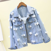 Spring Autumn New Fashion Pearl Three dimensional Flower Casual Cowboy Short Jacket Girl Student Jacket Jackets Denim Coats