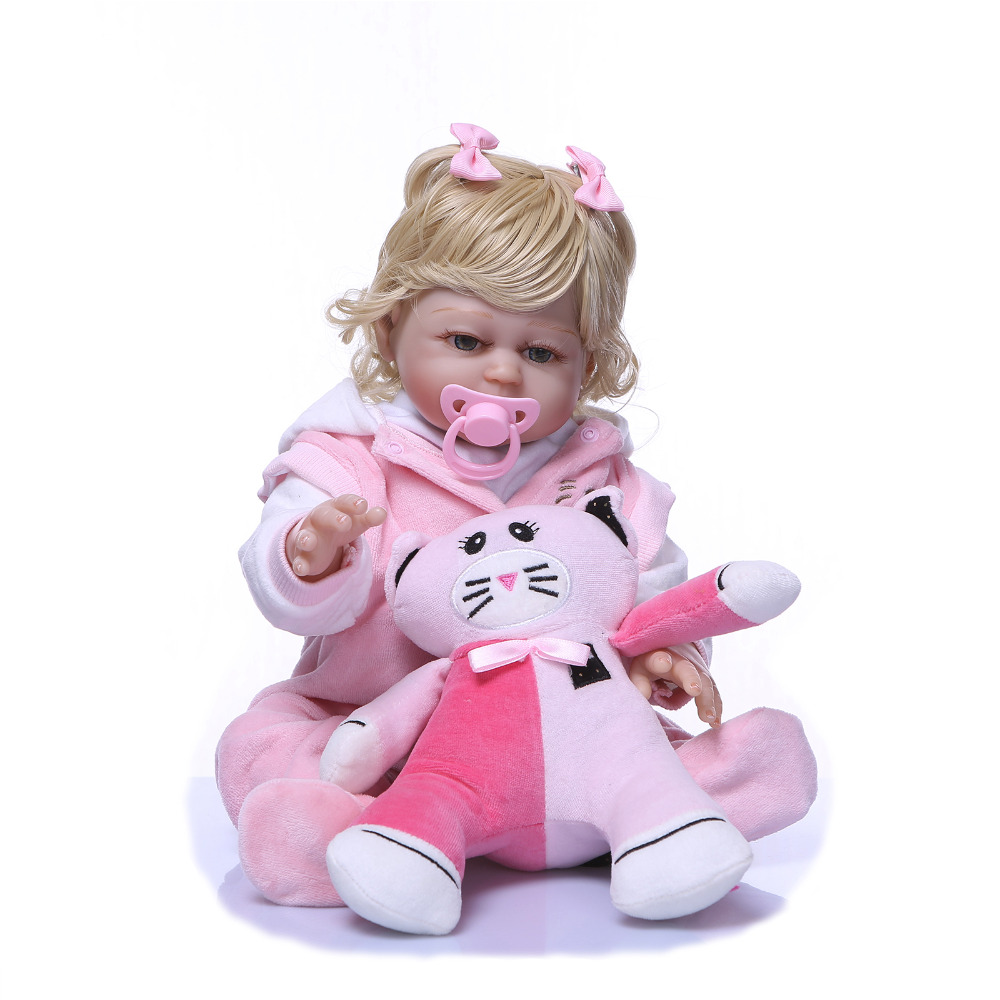 Nicery 20inch 50cm Bebe Reborn Doll Hard Silicone Boy Girl Toy Reborn Baby Doll Gift for Children Pink Clothes Pink Cat Doll nicery 18inch 45cm reborn baby doll magnetic mouth soft silicone lifelike girl toy gift for children christmas pink hat close