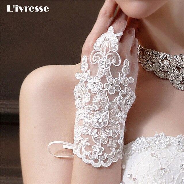 guantes de boda de encaje de nuevo diseño para vestidos de novia