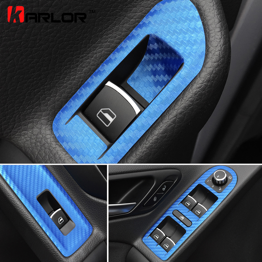 For <font><b>Volkswagen</b></font> VW Golf 6 MK6 Carbon Fiber Window Lifter Control Window Switch Decor Armrest Panel Trim Car Styling Accessories image