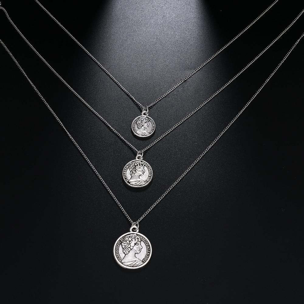 Collar de moneda tallada Vintage para mujer collar de medallón de Color dorado de moda múltiples capas colgante collares largos joyería Boho