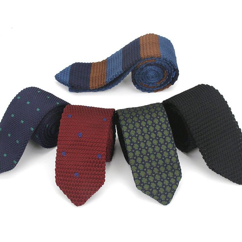 15 Colors Men Boys Knitted Striped Tie Necktie Narrow Slim Skinny Knit Woven Long Neck Ties