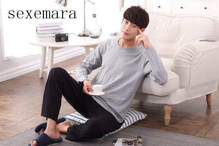 2019 sexemara brand new arrival fashion men shipping cloth 100 cotton o neck collar long grey