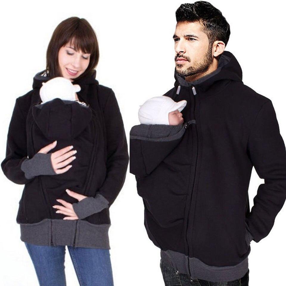Зимние толстовки для папы и мамы, худи с круглым вырезом для беременных, Повседневная Верхняя одежда на молнии с капюшоном для женщин и мужч...