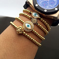 Женщины Мужчины Глаза Фатима Хамса Браслет Сглаза Плетение Макраме 24 К Позолоченный Вязать Синий Дьявол глаз Рука Браслеты Ювелирные Изделия