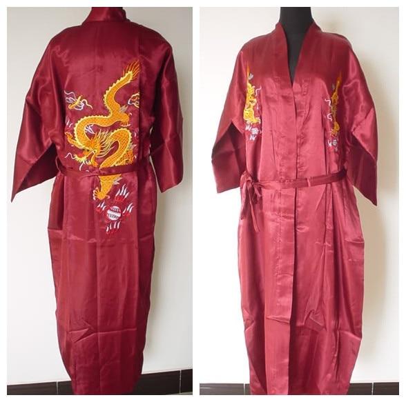 df0c06ff64 Hot Sale Burgundy Chinese Men s Silk Satin Robe Embroidery Dragon Kimono  Bath Gown SIZE M L XL XXL 3XL S0103-6