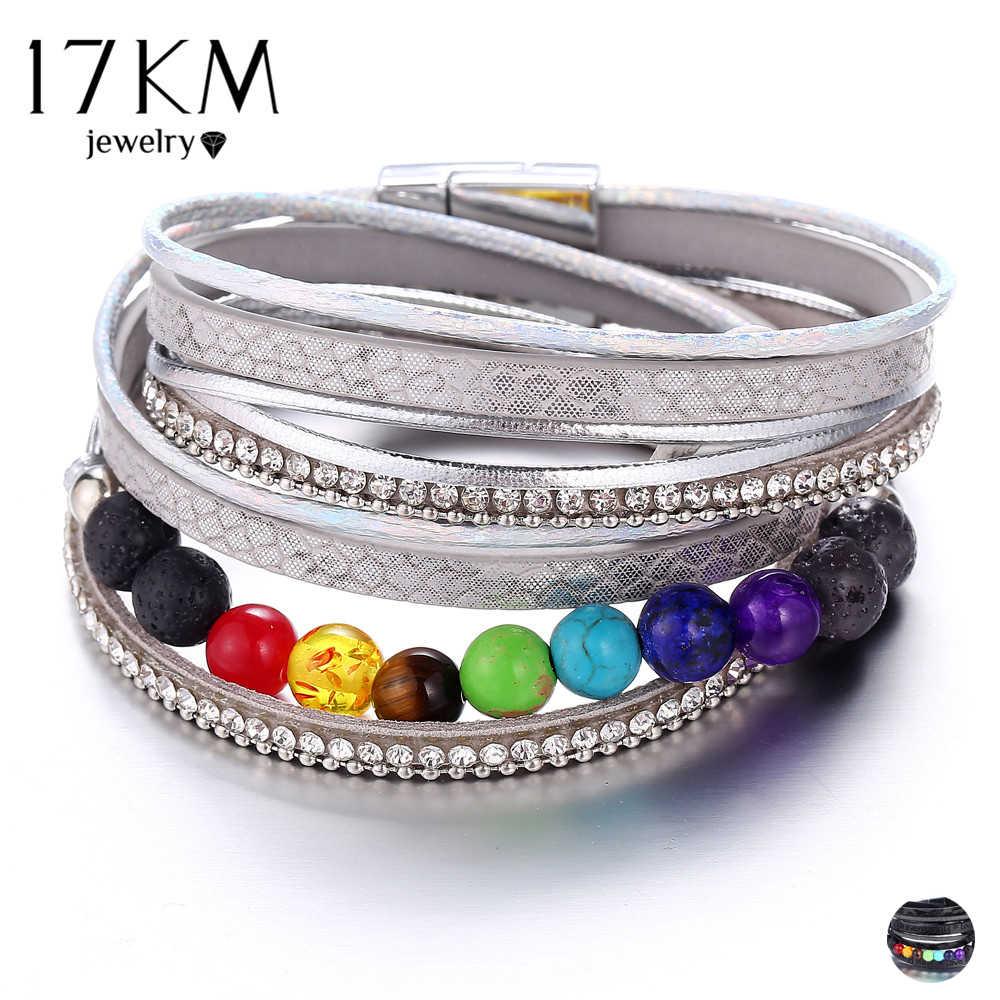 17KM Vintage 7 Chakra koraliki bransoletki i Bangles dla kobiet mężczyzn Healing Balance kamienie pasek ze skóry 2019 moda joga biżuteria