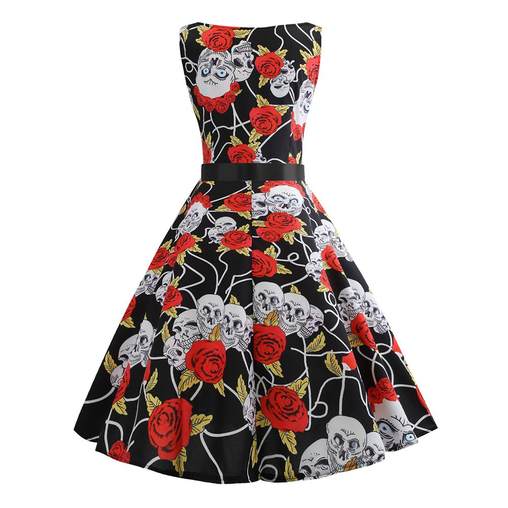 131b508d7555 50S Vintage Hepburn Style Skull Rose Floral Print Flare Dress With Ribbon  Belt Women Sleeveless Pin Up Halloween Party Vestidos-in Dresses from  Women's ...