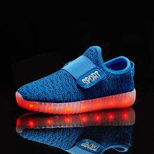 2017 Hot Printemps automne Enfants Sneakers Mode Lumineux Lumineux Coloré LED Enfants Shoes Casual Plat Garçon fille néon Shoes