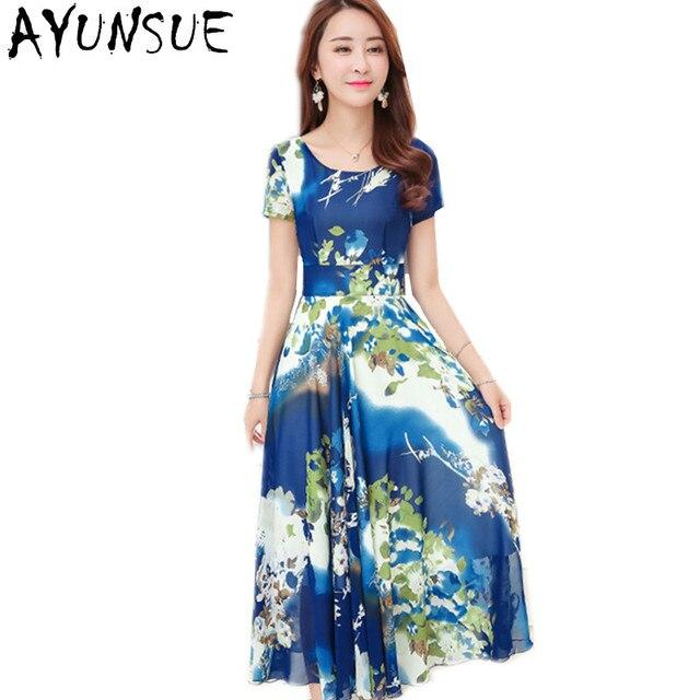 Bohemian Blue Floral Maxi Dress Chiffon Robe Femme Summer Dresses Large  Sizes Boho Clothing Beach Dress Famale FYY546 ab3faac8a56a