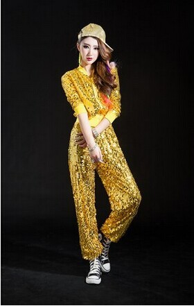 f47a335e2 Hiphop fashion jacket hooded and pants costumes paillette modern ...
