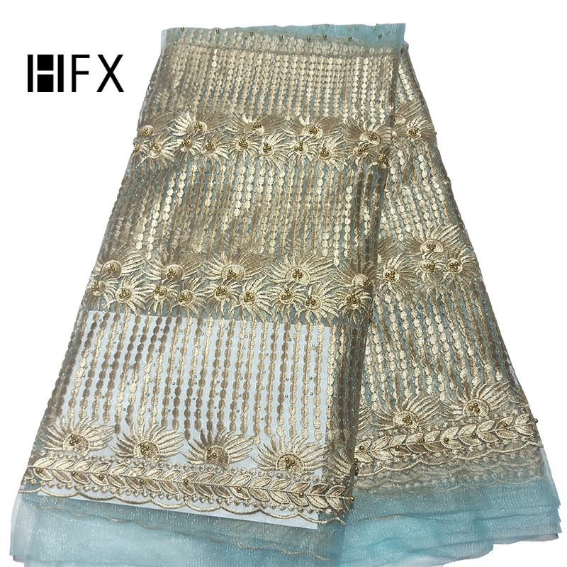 HFX Aqua/Gold 2019 Embroidered African Lace Fabric Beaded High Quality Net Lace French Lace Nigerian Lace Fabrics X1726HFX Aqua/Gold 2019 Embroidered African Lace Fabric Beaded High Quality Net Lace French Lace Nigerian Lace Fabrics X1726
