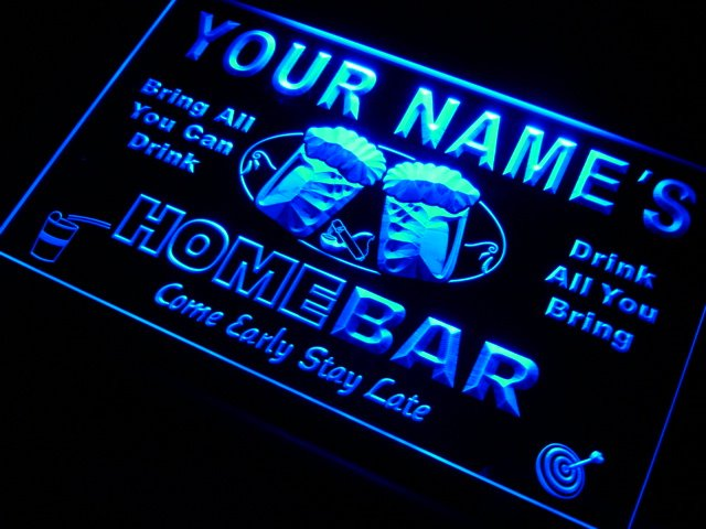p-tm Name Personalized Custom Home Bar Beer Mug LED Neon Sign 7 Colors or Multicolor with 5 Sizes Round or Rectangle Shape